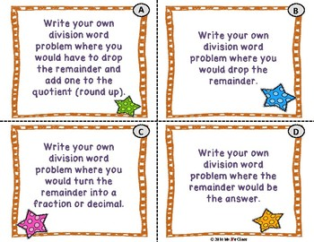 Interpreting Remainders Division Word Problems Task Cards