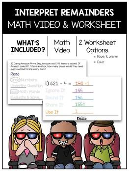 Interpreting Remainders Math Video and Worksheet