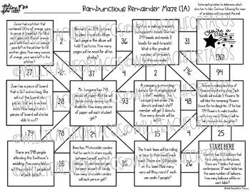 Interpreting Remainders Maze 4.4F 4.4H