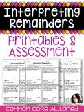 Interpreting Remainders Practice Sheets & Quiz COMMON CORE ALIGNED 4.OA.3