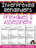 Division Interpreting Remainders Practice Sheets & Quiz COMMON CORE 4.OA.3