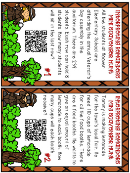 Interpreting Remainders Scavenger Hunt with QR CODES COMMON CORE ALIGNED 4.OA.3