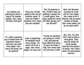 4th Grade Interpreting Remainders Sort