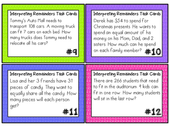 Interpreting Remainders Task Cards COMMON CORE ALIGNED 4.0A.3