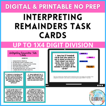 Interpreting Remainders Task Cards Using Division Story Problems- Common Core