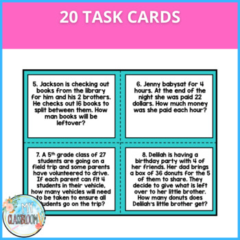 Interpreting Remainders Task Cards