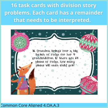Interpreting Remainders Task Cards Using Division Story Problems (Holiday Theme)