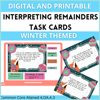 Interpreting Remainders Task Cards Using Division Story Pr