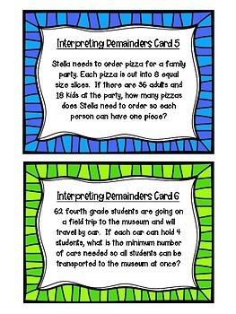 Interpreting Remainders Task Cards
