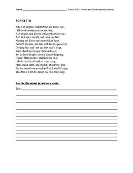 Interpreting/ Rewriting Shakespeare's sonnets