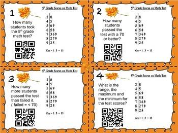 Interpreting Stem & Leaf Plot QR Task Cards