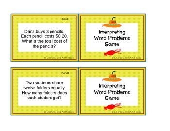 Interpreting Word Problems Game