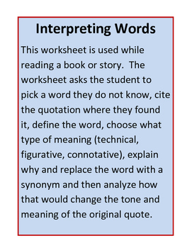Interpreting Words for Grades 6-12