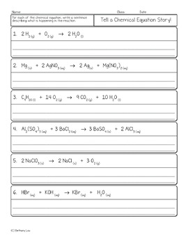 Interpreting and Writing Chemical Equations Chemistry Homework ...
