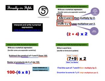 Interpreting and Writing Numerical Expressions (Spanish and English)