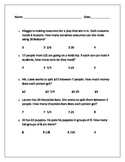 Interpreting remainder worksheet homework or exit slip