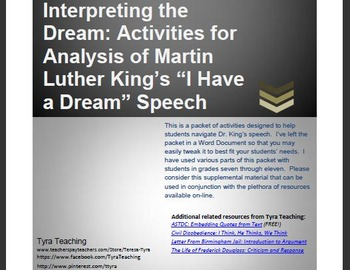 Interpreting the Dream: Activities for Analysis of Martin Luther King's Speech