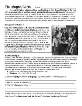 Magna Carta Worksheet   Teachers Pay Teachers