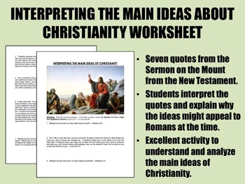 Interpreting the Main Ideas About Christianity worksheet