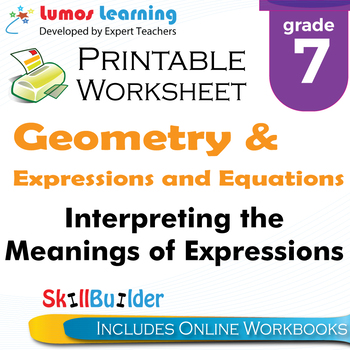Interpreting the Meanings of Expressions Printable Worksheet, Grade 7