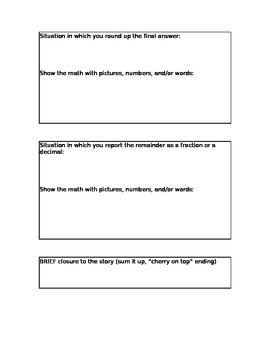 Interpreting the Remainder - Create your own math story! (Sample included)