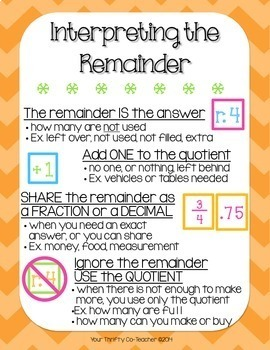 Interpreting the Remainder - Poster, Interactive Notebook, Worksheets Answer Key