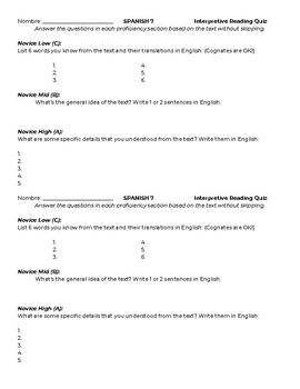 Interpretive Assessment Quizzes