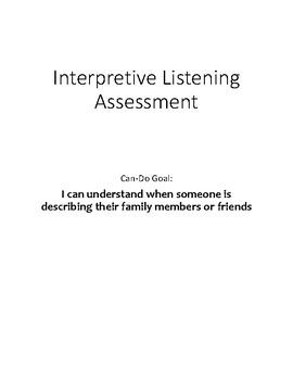 Novice Interpretive Listening Assessment: Describing Family