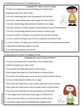 La Escuela - Un Horario de Escuela - Interpretive Listening - Partner Activity
