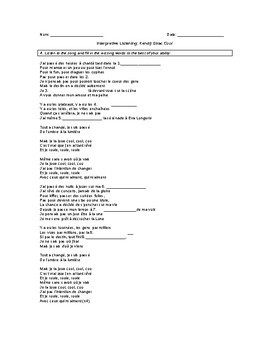 Interpretive Listening: French song with activities and dates vocabulary