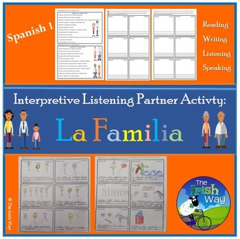 La Familia - The Family - Interpretive Listening - Partner Activity