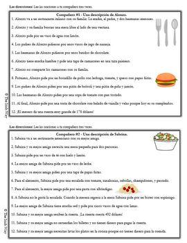 Interpretive Listening - La Comida - Food Partner Activity