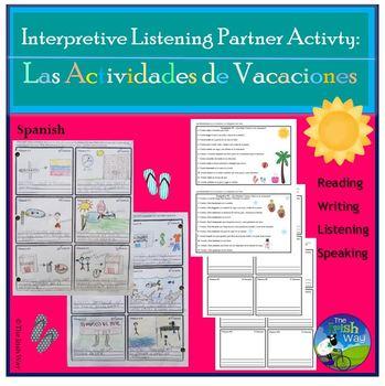 Las Actividades de Vacaciones - Interpretive Listening Partner Activity