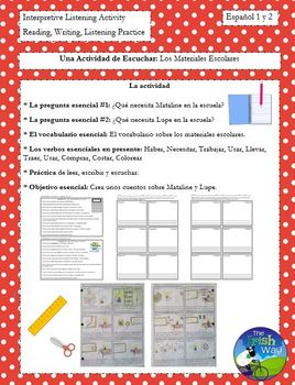 Los Materiales Escolares - School Supplies Interpretive Listening - Partner Act.