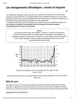 Interpretive Activity: Les changements climatiques