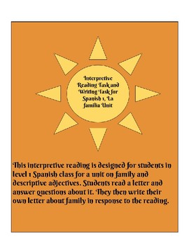 Interpretive Reading and Presentational Writing Tasks for Spanish 1 Family