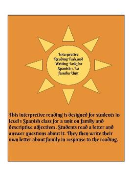 Interpretive Reading and Presentational Writing Tasks for Spanish 1 Family