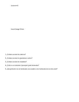 Interpretive Reading for Spanish 1: La Ropa
