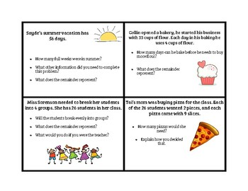 Interpretting Remainders Discussion Cards