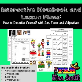 Interractive Spanish Notebook & Lesson Plan: How to Describe Yourself