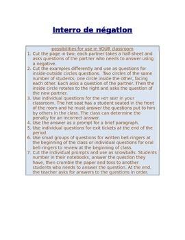 Interro de négation FRENCH negatives