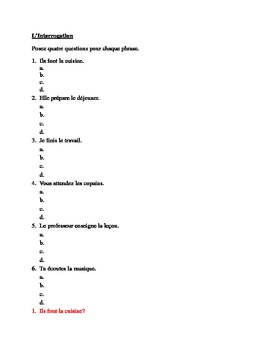 Interrogation (Questions in French) worksheet
