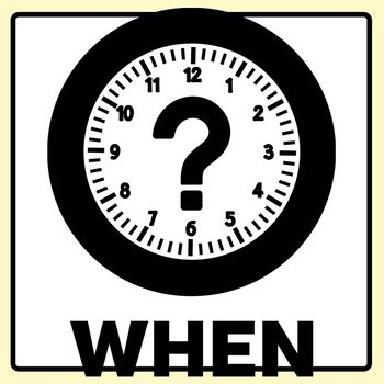 Interrogative Icon Clip Art Set - What, Who, When, Why, How, and Where