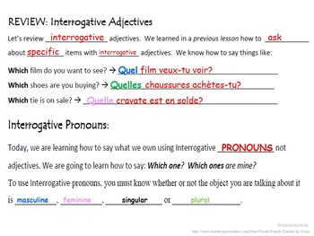 Interrogative Pronouns (Lequel, Laquelle): French Quick ...