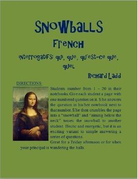 Interrogative Snowballs qui que quel  FRENCH