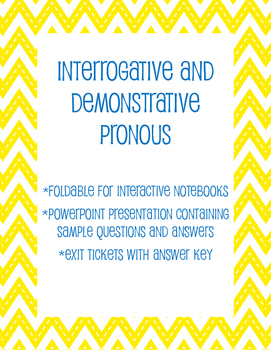 Interrogative and Demonstrative Pronouns Interactive Lesson