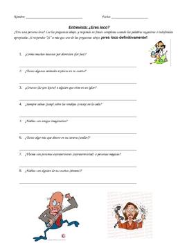 Palabras Interrogativas/Interrogative Words practice- Eres Loco entrevista