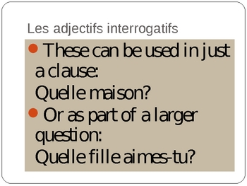 Interrogatifs et Démonstratifs Interrogatives  Demonstratives French PowerPoint