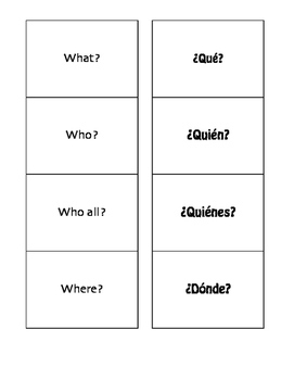 Spanish Interrogatives Matching Game