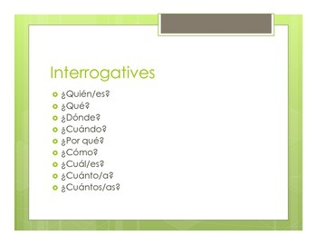 Spanish Interrogatives Notes